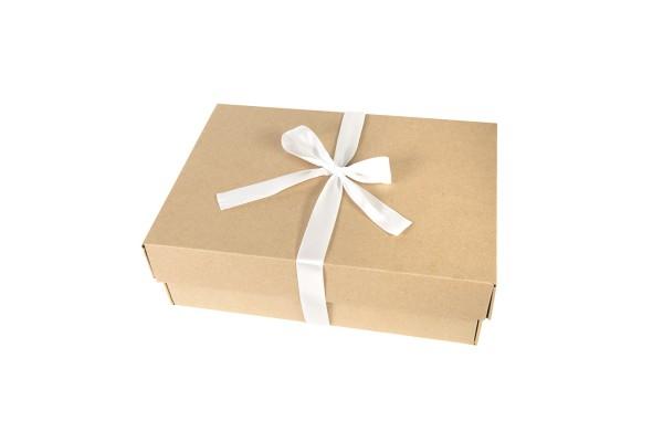 Коробка подарочная, размер 32,5х22,5х8,7 см, микрогофрокартон, коричневый, с лентой белой атласной