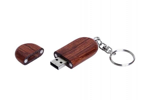USB 2.0 эко флешка на 32 Гб овальной формы и колпачком с магнитом (под дерево)