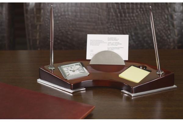 Набор настольный с часами, с двумя ручками, бумагой для записей и подставкой для визиток, цвет коричневый