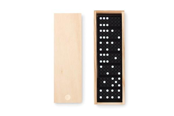 Домино в деревянной коробке. (коричневый)