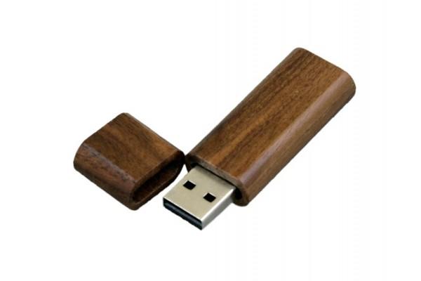 USB 2.0 эко флешка на 32 Гб эргономичной прямоугольной формы с округленными краями (под дерево)