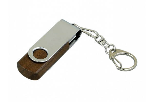 USB 2.0 эко флешка промо на 32 Гб с поворотным механизмом (под дерево)