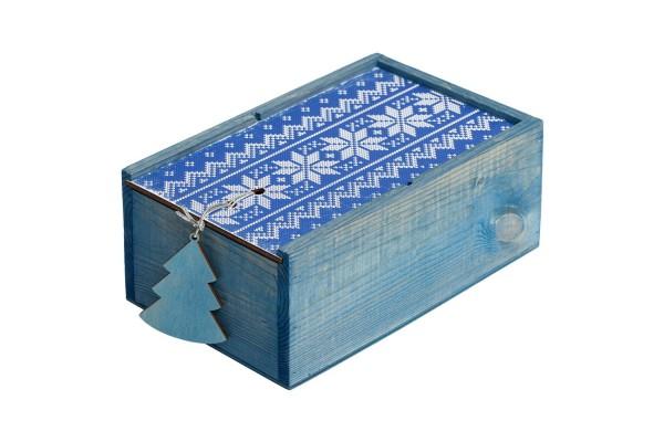 Коробка деревянная «Скандик», малая, синяя