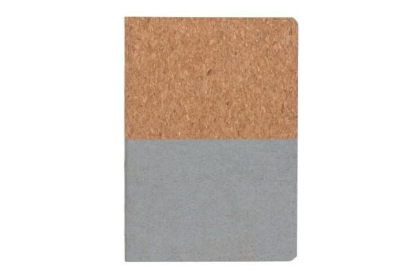 Блокнот в пробковой обложке, серый
