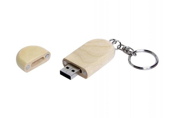USB 2.0 эко флешка на 16 Гб овальной формы и колпачком с магнитом белая