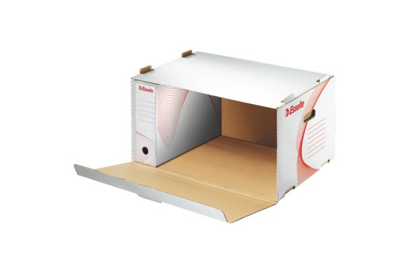 Короб архивный с крышкой, разборный, картон, вырубная застежка, 360x258x540 мм, белый цв., ESSELTE, STANDARD, пакет