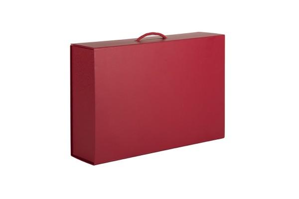 Коробка  складная подарочная  с ручкой, красный, 37x25 x10cm,  кашированный картон, тисн,  шелкогр.
