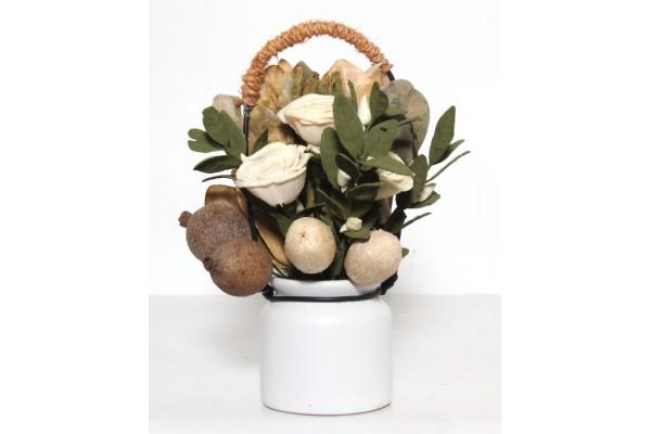 Декоративная композиция Экзотическая из искуственных цветов из древесной стружки / 11x9x24 арт.44435