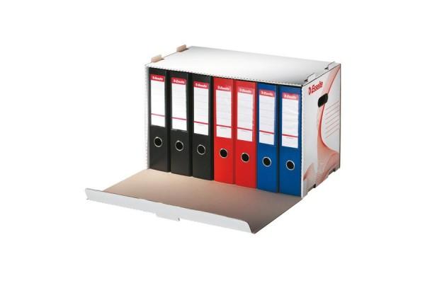 Короб архивный с крышкой, разборный, картон, вырубная застежка, 525x338x306 мм, белый цв., ESSELTE, STANDARD, пакет