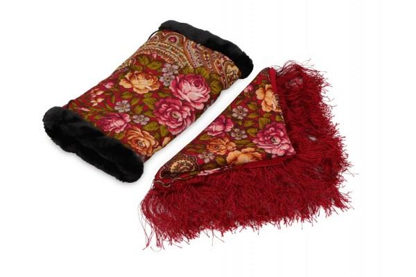 Подарочный набор: Павлопосадский платок, муфта