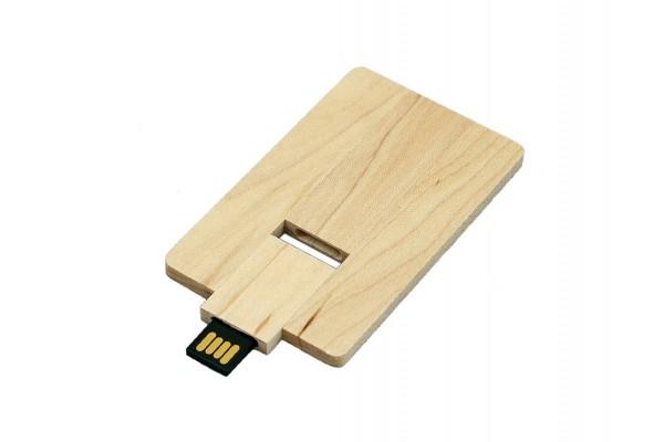 USB 2.0 эко флешка на 32 Гб в виде деревянной карточки с выдвижным механизмом белая