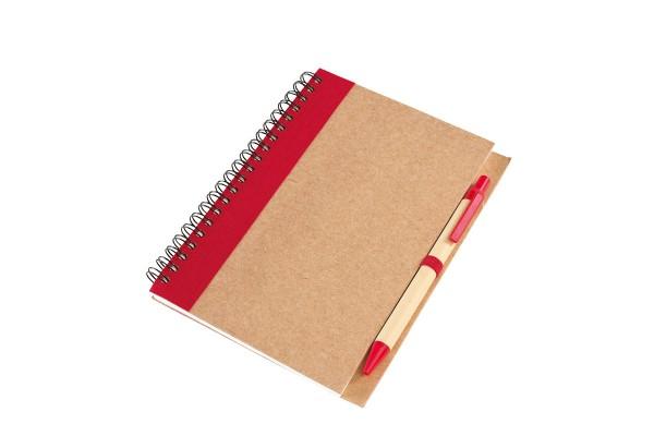 Блокнот Эко с ручкой красный