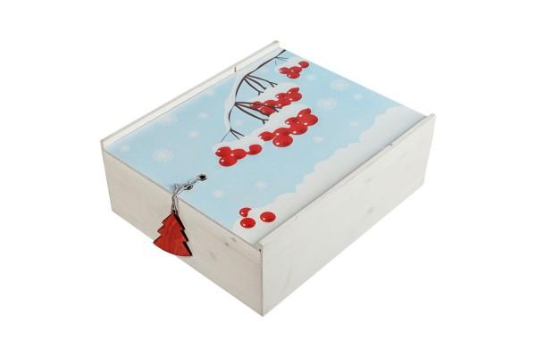 Коробка деревянная, с принтом «Ягоды»