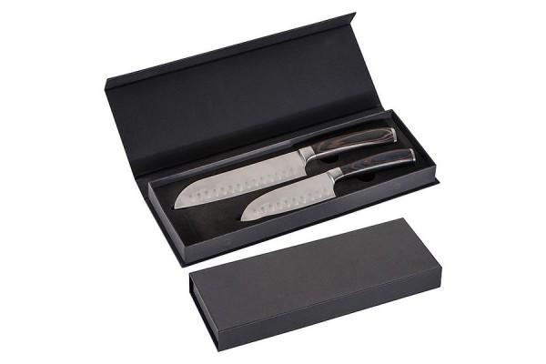Набор из 2 ножей с темными деревянными ручками. (коричневый)