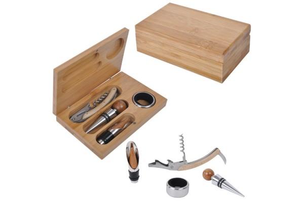 Набор для вина (4 предмета); 16х11х3 см; дерево, металл; лазерная гравировка, шильд