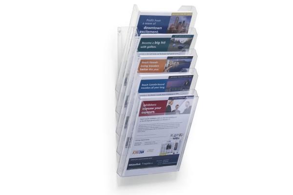 Накопитель настенный COMBIBOXX ф.А4, 5 секции, прозрачный, для презентационных материалов
