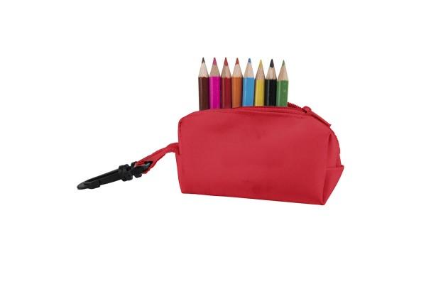 Набор цветных карандашей (8шт) с точилкой MIGAL в чехле, красный, 4,5х10х4 см, дерево, полиэстер