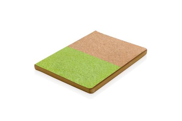 Блокнот в пробковой обложке, зеленый