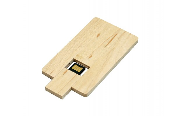 USB 2.0- флешка на 64 Гб в виде деревянной карточки с выдвижным механизмом
