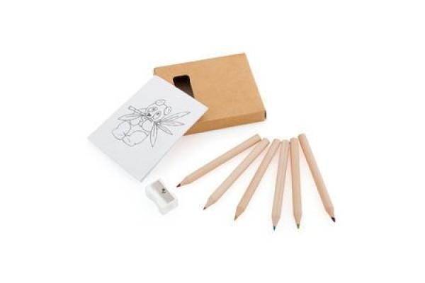 Набор цветных Эко карандашей с раскрасками и точилкой, 7,4х9х1,5см, дерево, картон, бумага