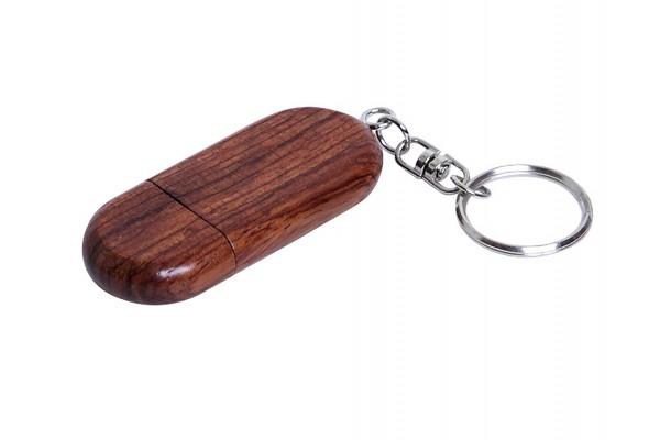 USB 2.0- флешка на 64 Гб овальной формы и колпачком с магнитом