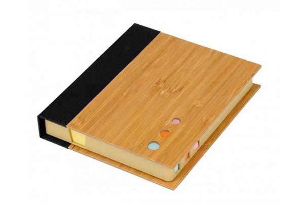 Набор: бумага для записей и стикеры в бамбуковом чехле (коричневый)