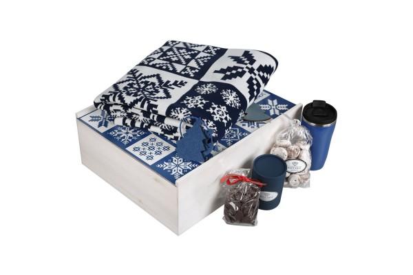 Набор с пледом «Сладкий год», синий с белым