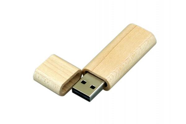 USB 2.0 эко флешка на 16 Гб эргономичной прямоугольной формы с округленными краями белая