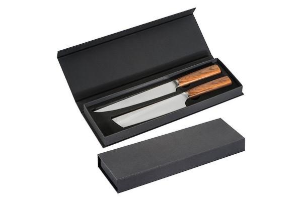 Набор из 2 ножей со светлыми деревянными ручками. (коричневый)