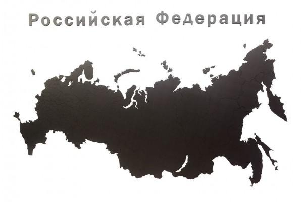 Деревянная карта России с названиями городов, черная