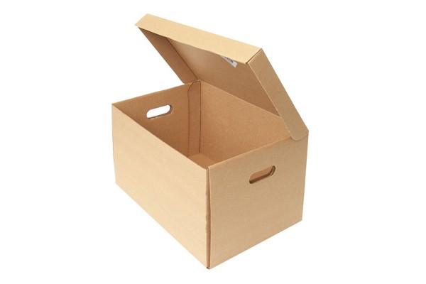 Короб архивный с крышкой, сборный, гофрокартон, вырубная застежка, 425x265x190 мм, бежевый цв., NONAME