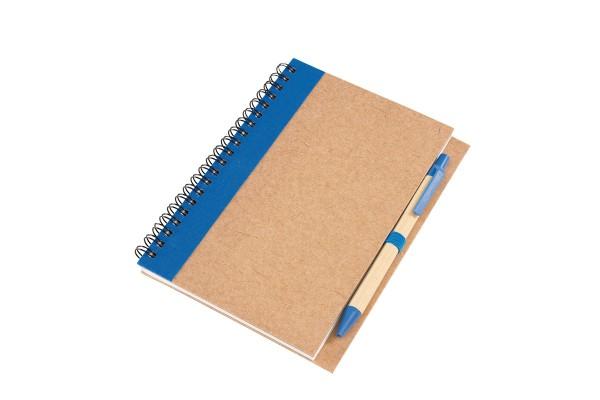 Блокнот Эко с ручкой синий