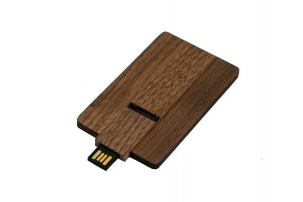 USB 2.0 эко флешка на 32 Гб в виде деревянной карточки с выдвижным механизмом (под дерево)