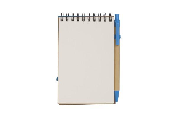 Блокнот Эко с ручкой голубой