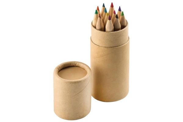 """Набор цветных Эко карандашей (12шт) """"Игра цвета"""" в футляре, 3,5х10,3 см, дерево, картон"""