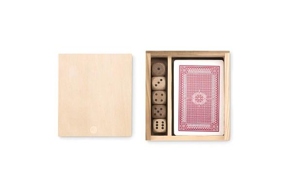 Набор игральных карт 54 штуки и 5 кубиков в деревянном боксе. (коричневый)