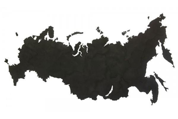 Деревянная карта России, черная