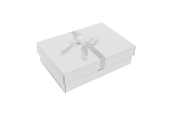 Коробка подарочная, размер 32,5х22,5х8,7 см микрогофрокартон белый, с лентой белой атласной