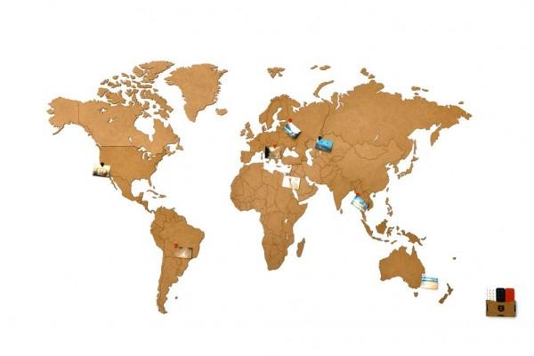 Деревянная карта мира World Map Wall Decoration Small, коричневая