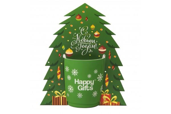 Коробка-украшение для чашки( D=8 см) в виде елки, 15*23 см, мелованный картон, белый